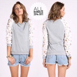 Sweaters - Floral Lace Sleeved Sweater